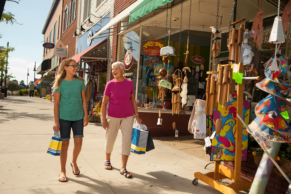 Woman and girl shopping in South Haven