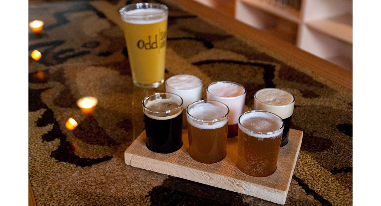 Beer flight from Odd Side Ales