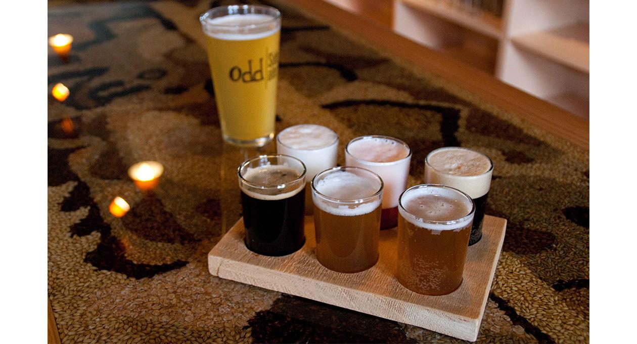 Beer flight from Odd Side Ales