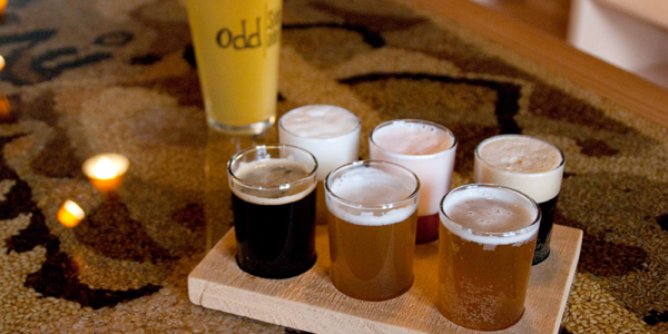 Odd Side Ales flight of beer