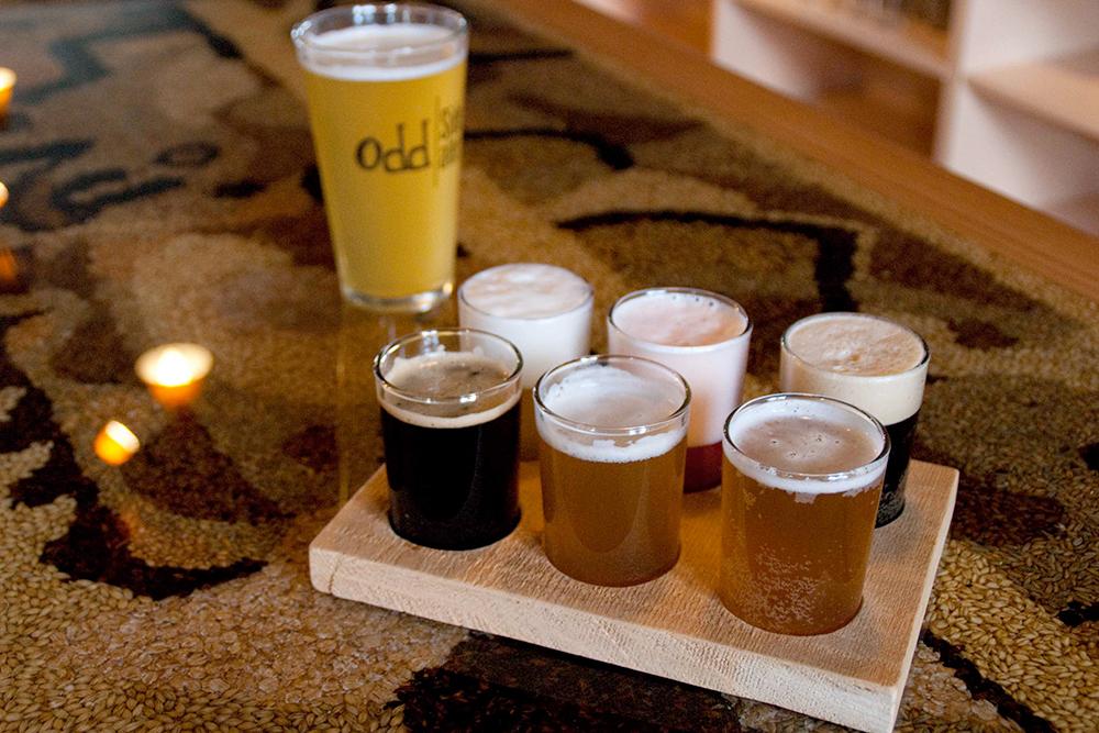 Odd Side Ales flight of beer