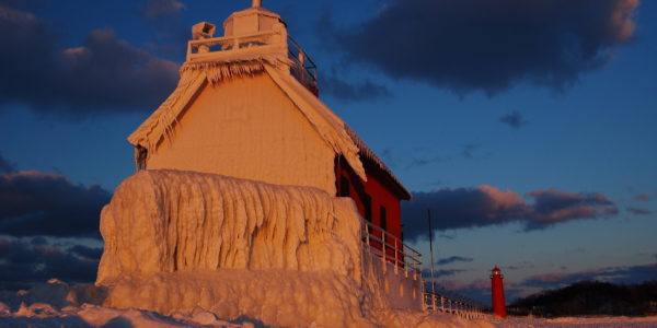 Lake Michigan Lighthouse Frozen